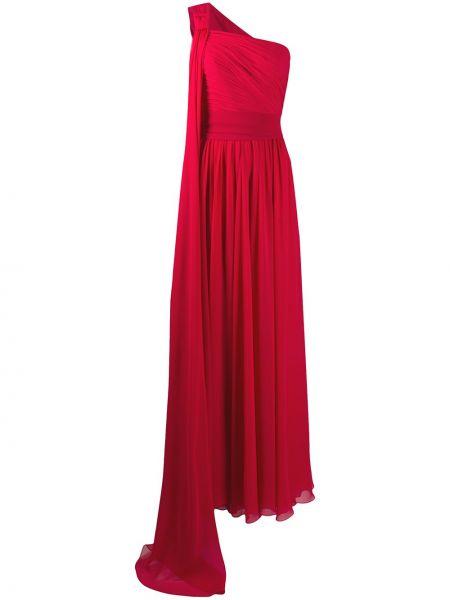 Красное платье макси на одно плечо без рукавов Elie Saab