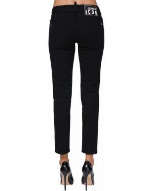 Укороченные джинсы mom с заплатками Dsquared2
