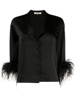 Шелковая с рукавами черная рубашка Gilda & Pearl