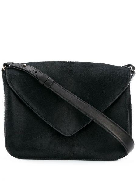 Шерстяная черная кожаная сумка на молнии с карманами Holland & Holland