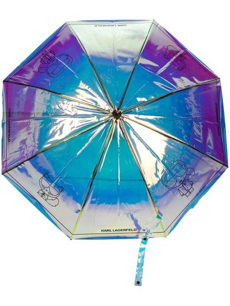 Niebieski parasol srebrny z printem Karl Lagerfeld