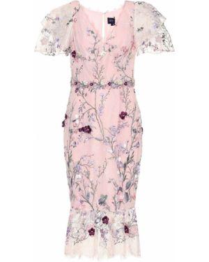 Розовое платье миди из фатина с вышивкой Marchesa Notte