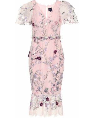 Платье мини розовое из фатина Marchesa Notte
