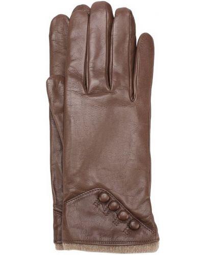 Бежевые кожаные перчатки Sermoneta Gloves
