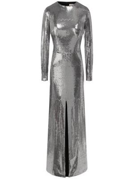 Серебряное платье с пайетками с длинными рукавами с вырезом A La Russe