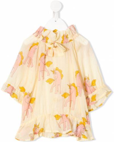 Хлопковая желтая блузка со вставками Mini Rodini