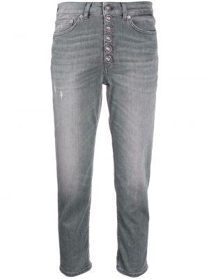 Классические хлопковые серые укороченные джинсы на пуговицах Dondup