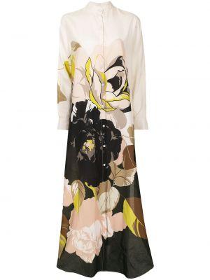 Коричневое платье макси с воротником-стойка в цветочный принт Adam Lippes