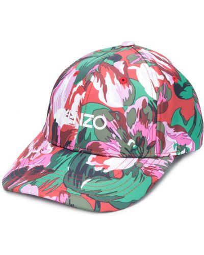 Zielona czapka w kwiaty z printem Kenzo