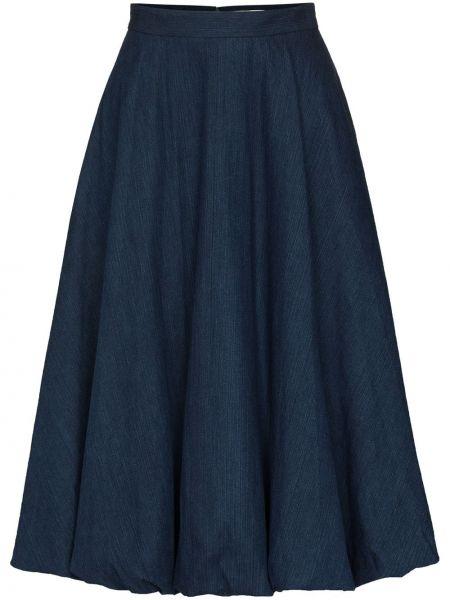 Niebieska spódnica midi z wysokim stanem bawełniana Tibi