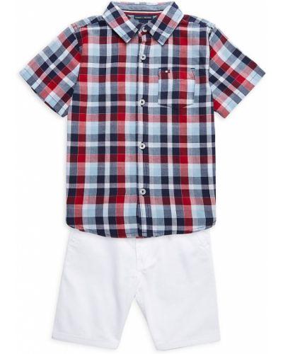 Хлопковая рубашка с коротким рукавом с накладными карманами в клетку Tommy Hilfiger