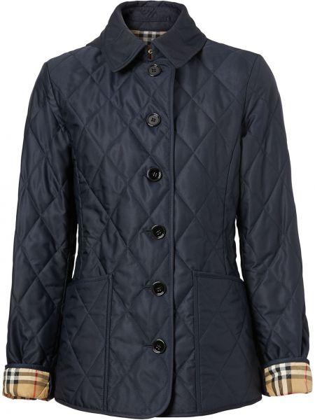 Ватная синяя стеганая длинная куртка Burberry