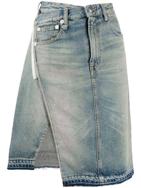 Джинсовая юбка с запахом с вырезом R13