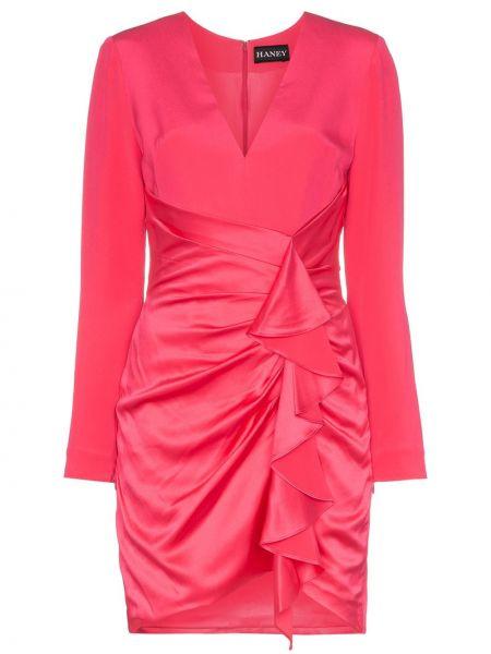 Różowa sukienka mini asymetryczna z długimi rękawami Haney