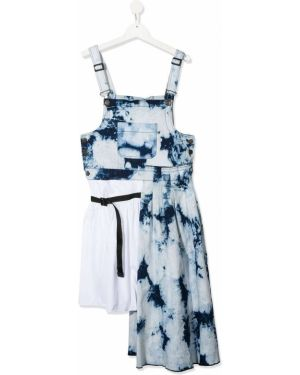 Хлопковое расклешенное синее платье с вырезом Cinzia Araia Kids