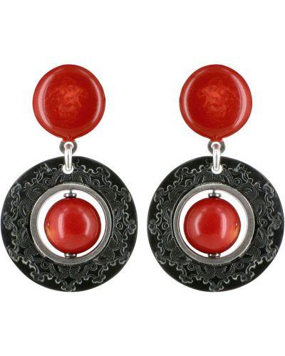 Красные серьги удлиненные Nature Bijoux