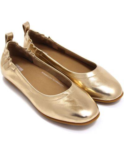Кожаные балетки - золотые Fitflop