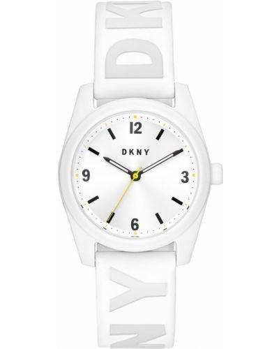 Biały zegarek kwarcowy z paskiem silikon Dkny