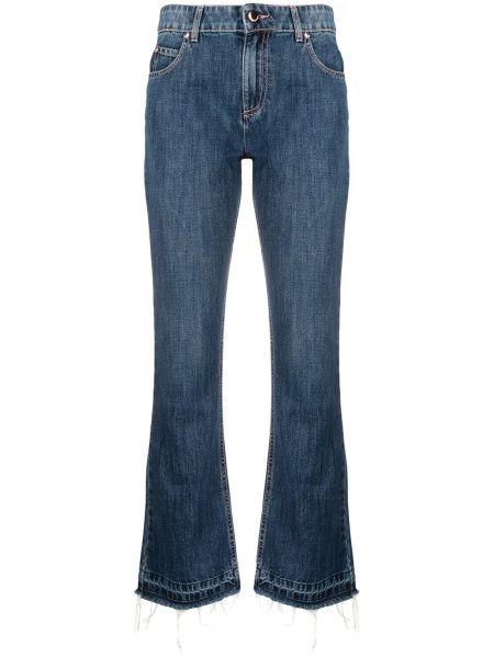 Хлопковые синие укороченные джинсы на молнии Red Valentino