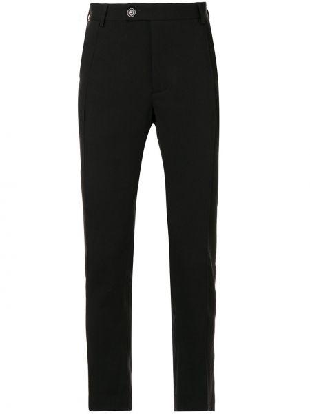 Черные деловые брюки с поясом на пуговицах Strateas Carlucci