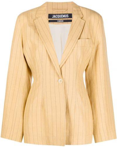 Льняной синий удлиненный пиджак с карманами Jacquemus