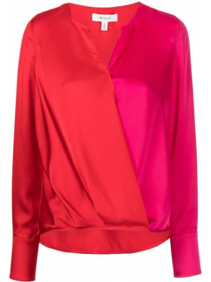Różowa bluzka z dekoltem w serek Milly