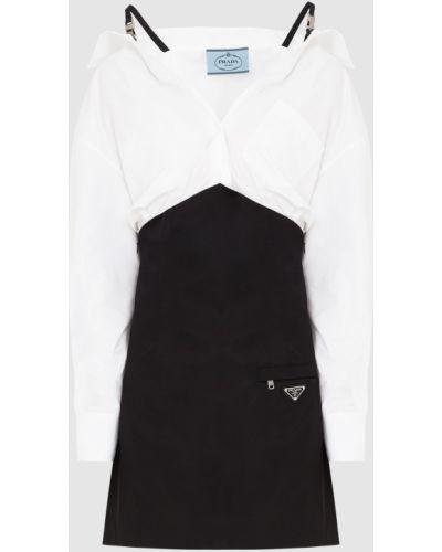 Черное комбинированное платье Prada