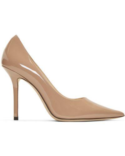 Różowy skórzany szpilki buty na obcasie na pięcie prążkowany Jimmy Choo