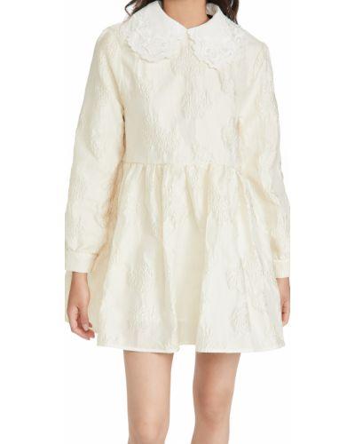 Бежевое платье мини с длинными рукавами с вышивкой Sister Jane