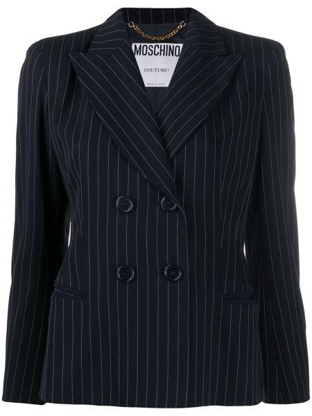 Шерстяная синяя длинная куртка двубортная Moschino Pre-owned