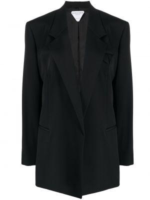 Шерстяной черный пиджак двубортный Bottega Veneta