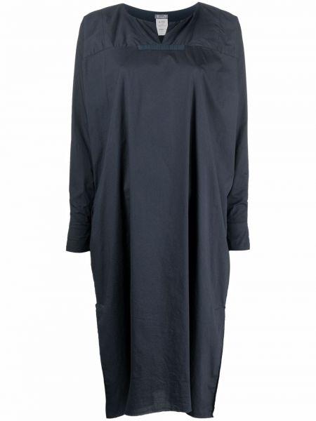 Хлопковое синее платье макси с длинными рукавами Kristensen Du Nord