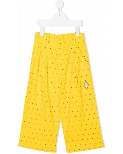 Żółte spodnie bawełniane w grochy The Animals Observatory