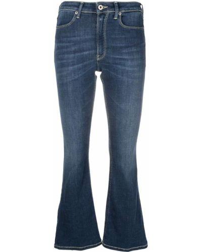 Расклешенные синие укороченные джинсы с высокой посадкой Dondup