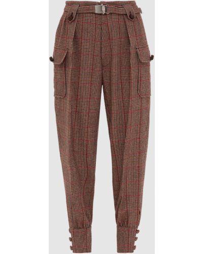 Повседневные шерстяные бежевые брюки Miu Miu