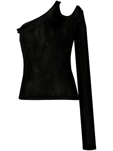 С рукавами черный асимметричный топ из вискозы Andrea Ya'aqov