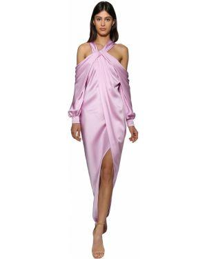 Шелковое розовое платье макси с декольте с длинными рукавами Ralph & Russo