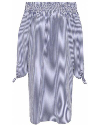 Платье в полоску с открытыми плечами прямое Van Laack