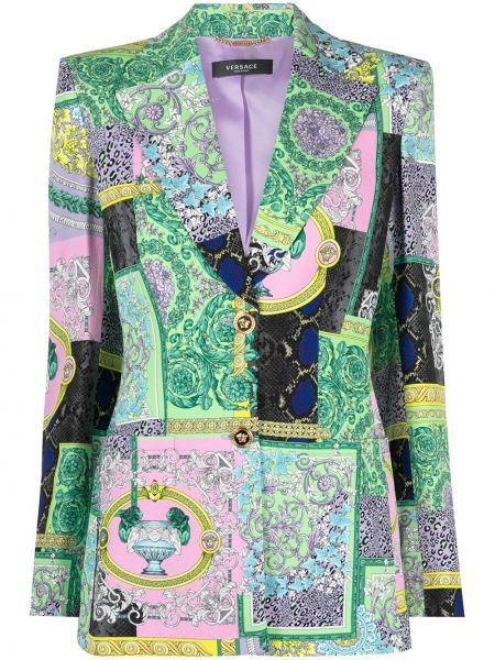 Фиолетовый однобортный удлиненный пиджак на пуговицах Versace