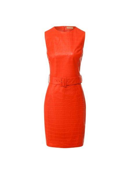 Платье с поясом красный кожаное Drome