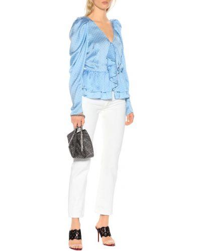 Jedwab niebieski bluzka zabytkowe Magda Butrym