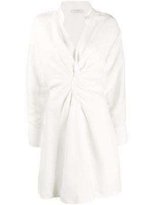 Белое плиссированное платье с воротником на молнии Sandro Paris