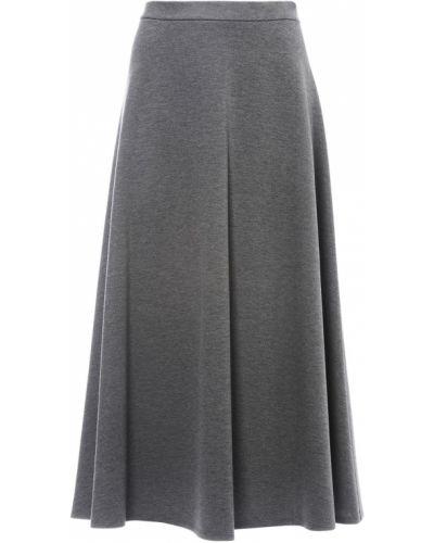 Серая расклешенная юбка миди в рубчик на крючках Max Mara