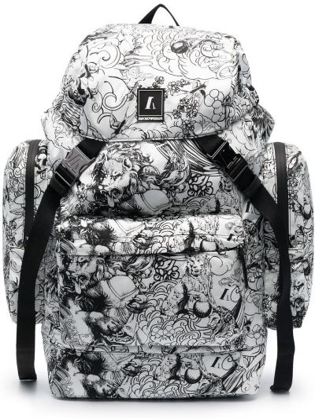 Czarny plecak klamry Emporio Armani