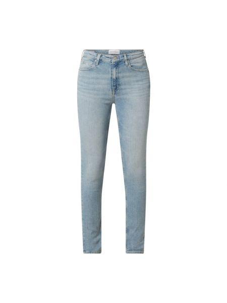 Bawełna niebieski jeansy na wysokości chudy z paskami Calvin Klein Jeans
