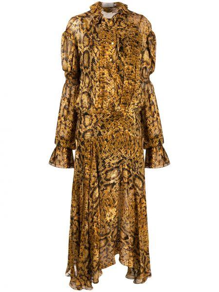Платье с заниженной талией с рукавами Preen By Thornton Bregazzi