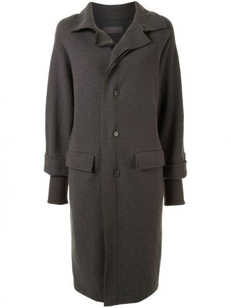 Серое шерстяное длинное пальто с рукавом реглан Yohji Yamamoto Pre-owned