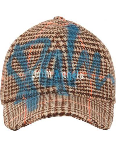 Brązowa czapka z haftem Palm Angels