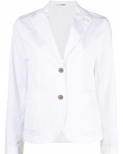Однобортный приталенный белый классический пиджак Lardini