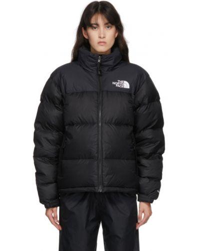 Пуховая черная длинная куртка с капюшоном The North Face